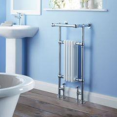Milano Trent - Traditional Brass Heated Bathroom Towel Radiator Rail 930mm x 450mm