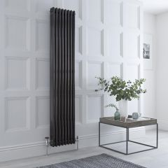 Milano Windsor - Traditional 8 x 3 Column Radiator Cast Iron Style High Gloss Black 1800mm x 360mm