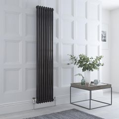 Milano Windsor - Traditional 8 x 2 Column Radiator Cast Iron Style High Gloss Black 1800mm x 383mm
