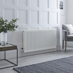 Milano Windsor - Traditional White 3 Column Radiator 600mm x 1160mm (Horizontal)