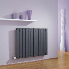 Milano Alpha - Anthracite Horizontal Single Slim Panel Electric Designer Radiator 635mm x 840mm