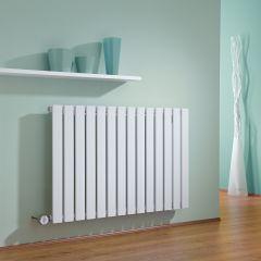 Milano Alpha - White Horizontal Single Slim Panel Electric Designer Radiator 635mm x 980mm