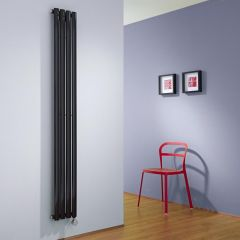 Milano Aruba Slim - High Gloss Black Space-Saving Vertical Electric Designer Radiator 1780mm x 236mm