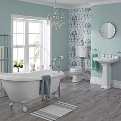 Milano Carlton Freestanding Slipper Bath Suite, Low Level WC inc Brassware