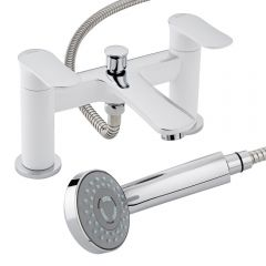 Milano Marden Bath Shower Mixer Tap with Handset & Bracket Chrome White