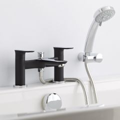 Milano Marden Bath Shower Mixer Tap with Handset & Bracket Chrome Black