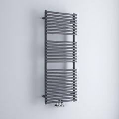 Milano Via - Anthracite Bar on Bar Central Connection Heated Towel Rail 1200mm x 500mm