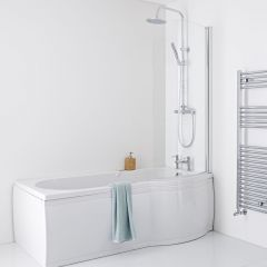 Milano Newby 1675mm P Shape Curved Shower Bath Panels & Screen - Right Hand