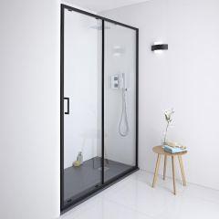 Milano Nero Shower Sliding Door Black - 1100mm x 1950mm