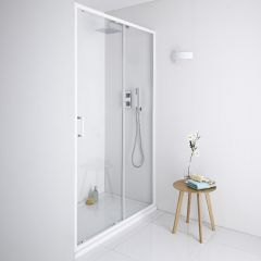 Milano Bianco Shower Sliding Door White - 1400mm x 1950mm