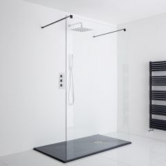 Milano Nero Floating Walk-In Shower Enclosure (1400 x 800mm)