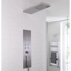 Milano Grasmere Stainless Steel Thermostatic Shower Tower - Brushed Chrome
