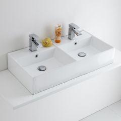 Milano Dalton - Double Ceramic Wall Hung Basin 820 x 420mm