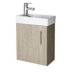 Premier 400mm Oak Minimalist Wall Hung Cloakroom Vanity Unit
