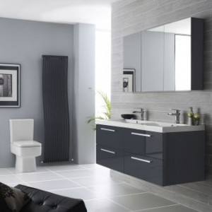 Hudson Reed Grey Gloss vanity unit