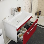 red gloss vanity unit