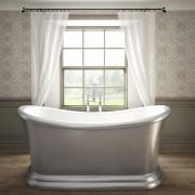 silver freestanding bath