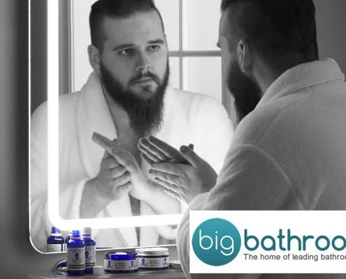 man looking into bathroom mirror