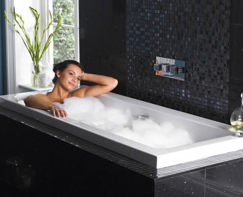 woman lay in bath