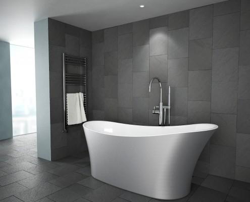 Milano Slipper bath in silver