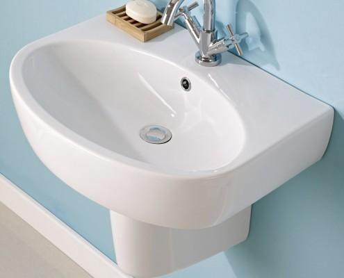 basin with semi pedestal