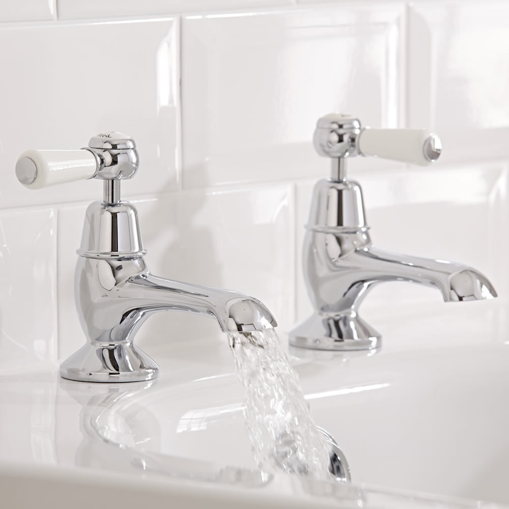 traditional bath taps with white lever handles. The Bathroom Taps Buyer s Guide   BigBathroomShop