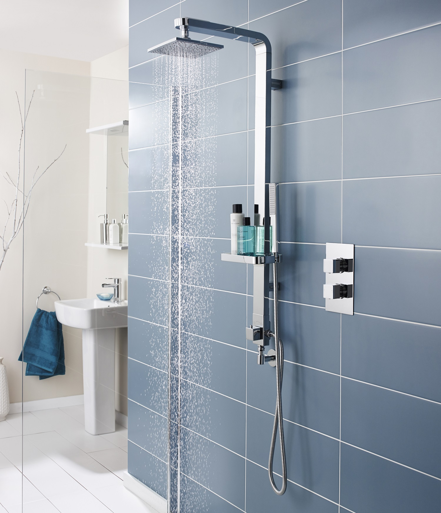 How to regrout a shower wall step by step guide modern shower against a blue tiled wall ppazfo