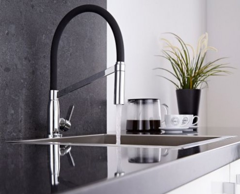 chrome and black tap
