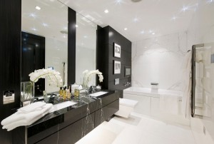 contemporary black and white bathroom
