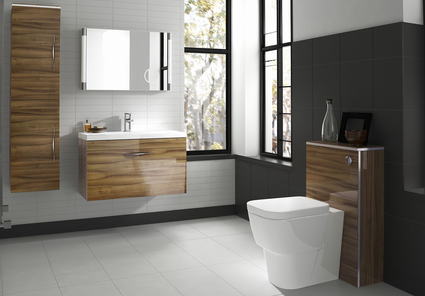 Deciding On A Colour. Modern Bathroom With Walnut Vanity Unit And Matching  Furniture