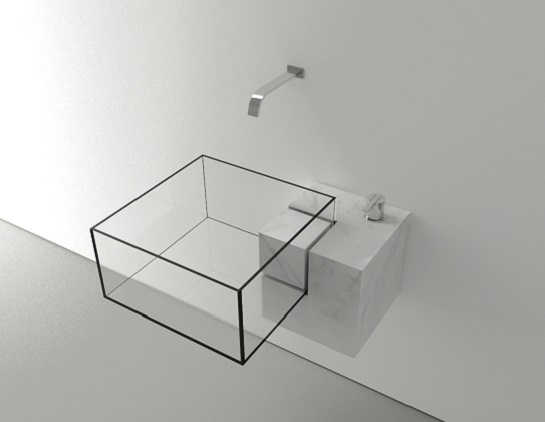 Kub glass basin