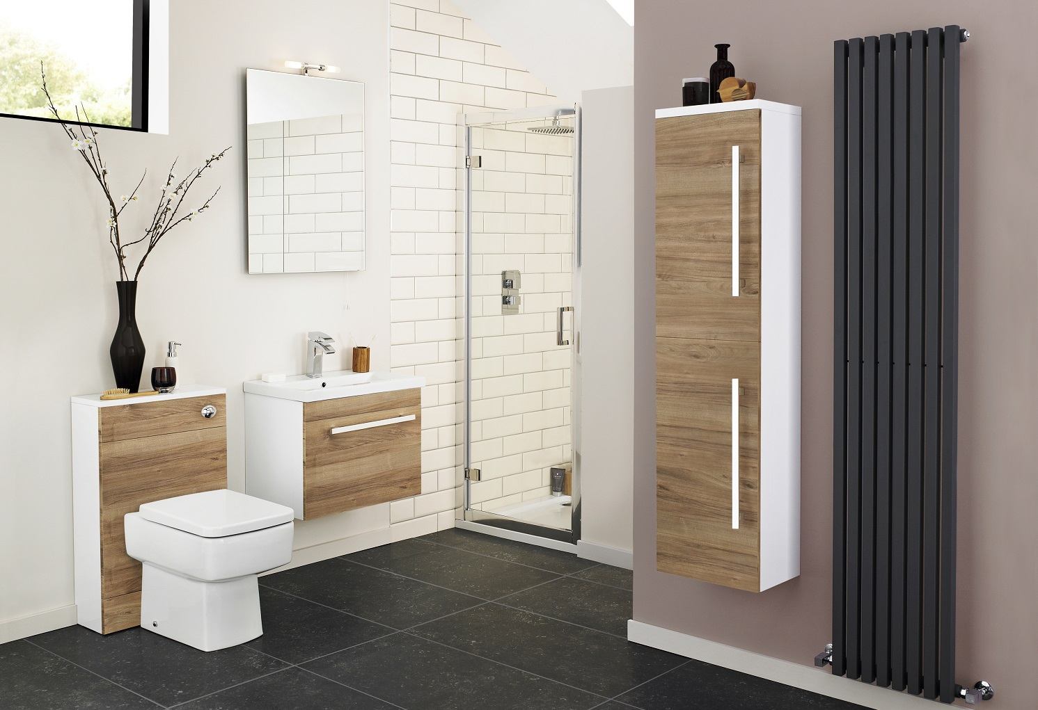 matching cabinets in modern bathroom