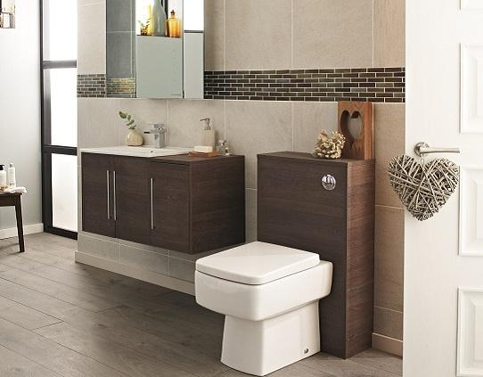 modern bathroom furniture in a dark wood finish
