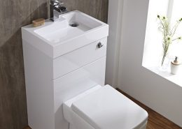 toilet and basin combination unit in white gloss