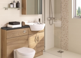 bathroom with wet room screen and fitted furniture